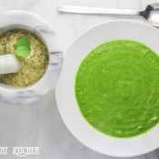 Spinach Soup with Basil Walnut Pesto