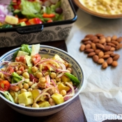 Chickpea Almond Salad with Fruit and Curry Dressing