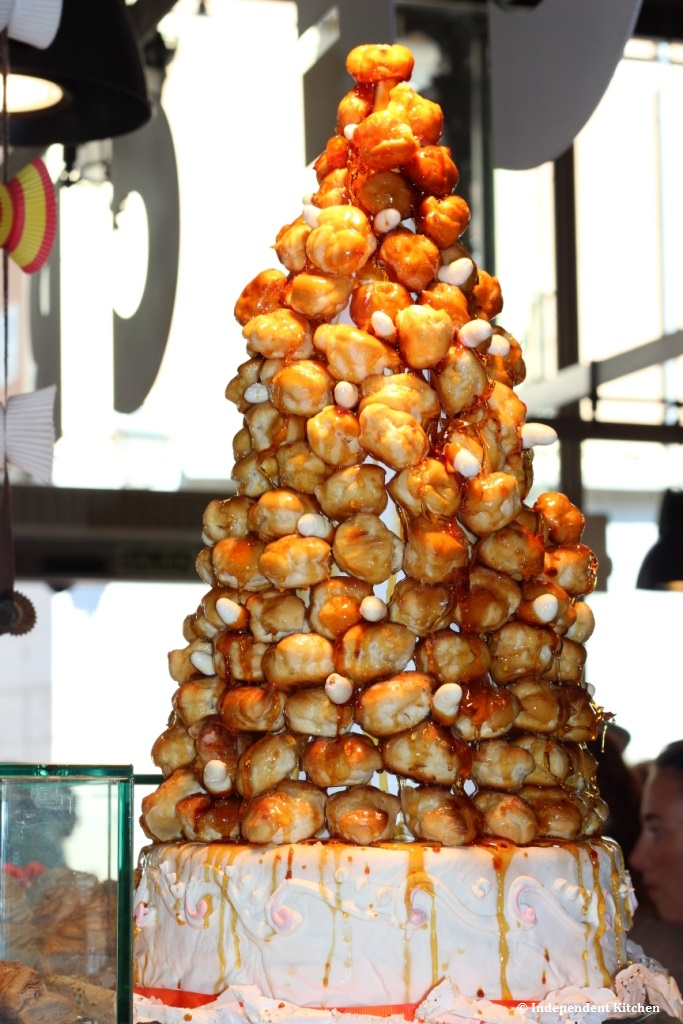 A showstopping croquembouche at Mercado de San Miguel in Madrid, Spain