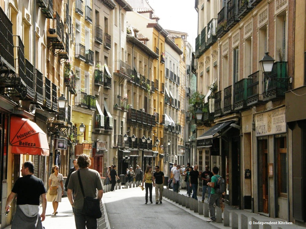 Cava Baja, main Tapas street in Madrid, Spain
