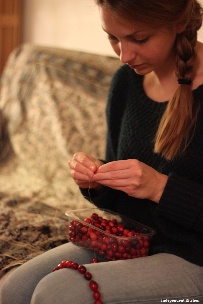 Creating beautiful colourful red cranberry chains for biodegradable Xmas