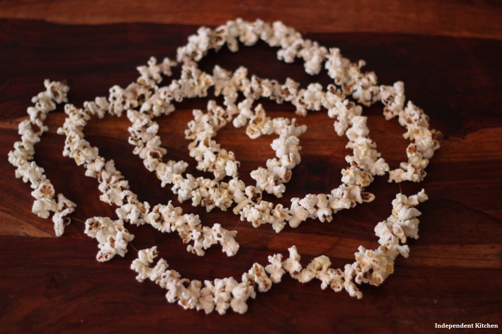 Homemade handmade biodegradable popcorn tinsel for Christmas decorations ideas
