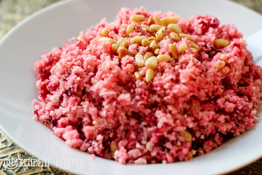 Raw Beetroot cauliflower couscous