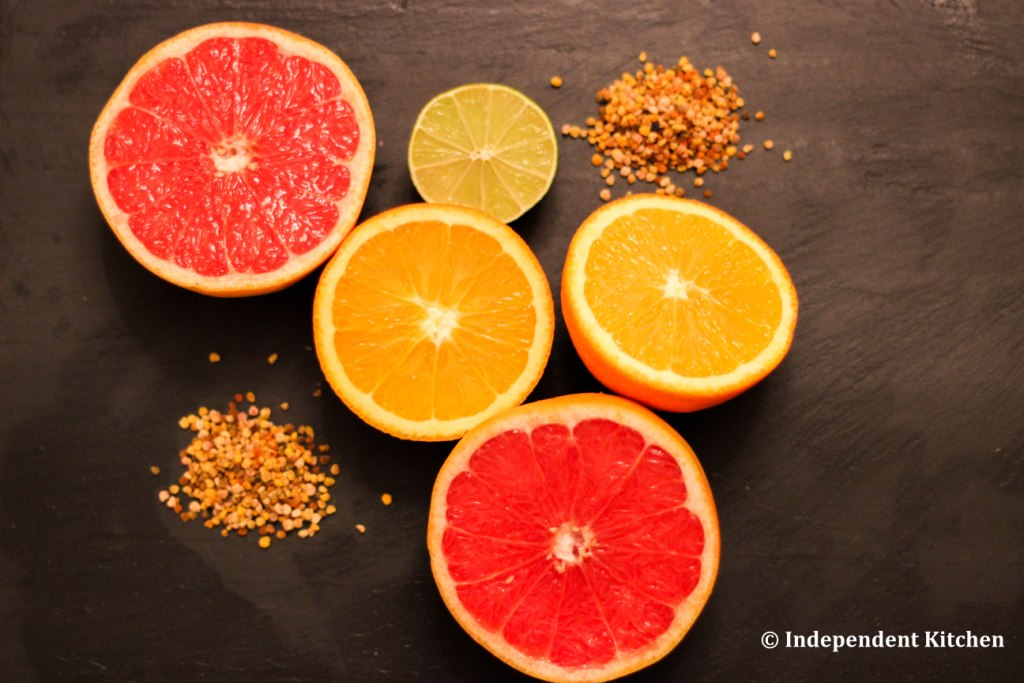 Citrus fruits and be pollen for a healthy, cleansing sunshine smoothie