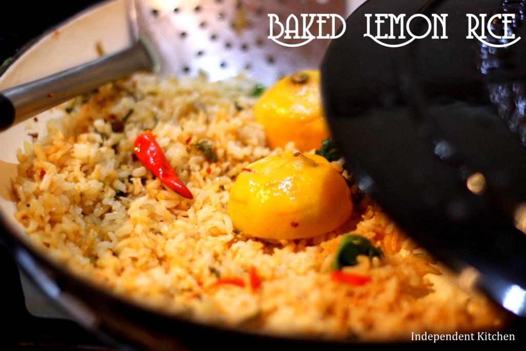 aromatic baked lemon rice with chilli and coriander, perfect with dahl