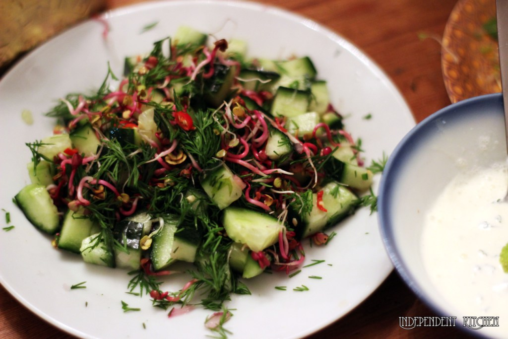 cucumber, dill, srpouted radish, alfalfa, broccoli, clover and chilli salad