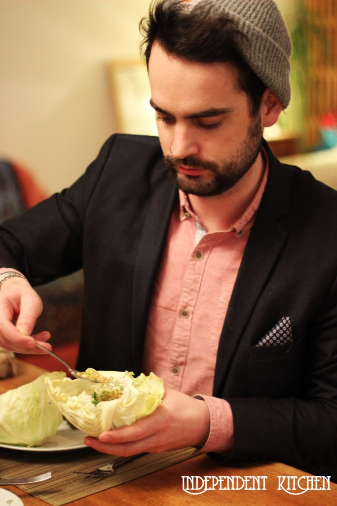 Jack assembling his baked falafel vegan wrap