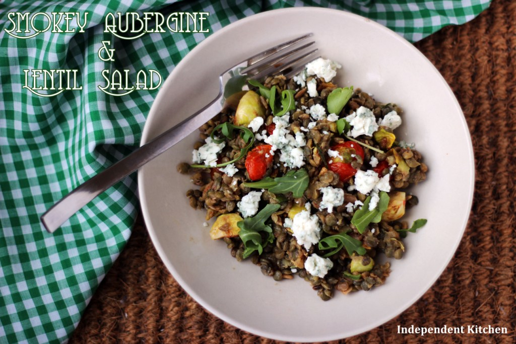Mediterranean smoky eggplant, puy lentil fresh tomato and goats cheese salad