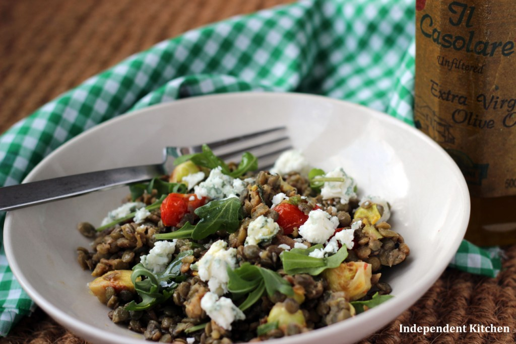vegetarian lentil and smoked aubergine Mediterranean salad