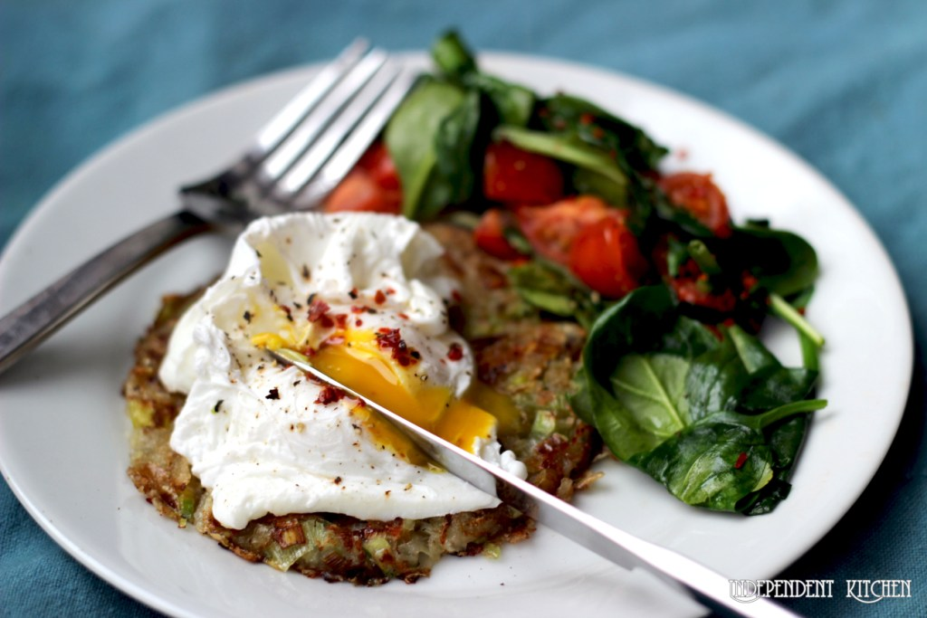 Welsh leek and potato hash brown topped with perfect poached egg