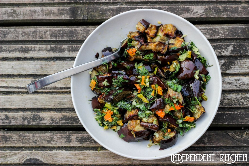 Roasted Aubergine with Herbs - Yotam Ottelenghi recipe