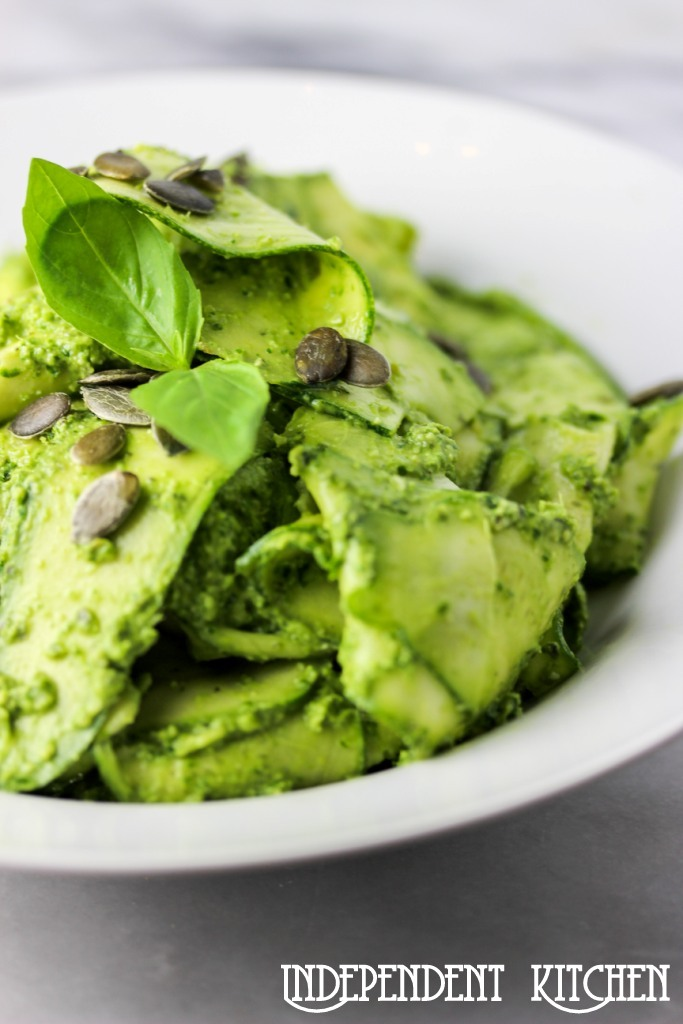 Super green pesto with courgette tagliatelle