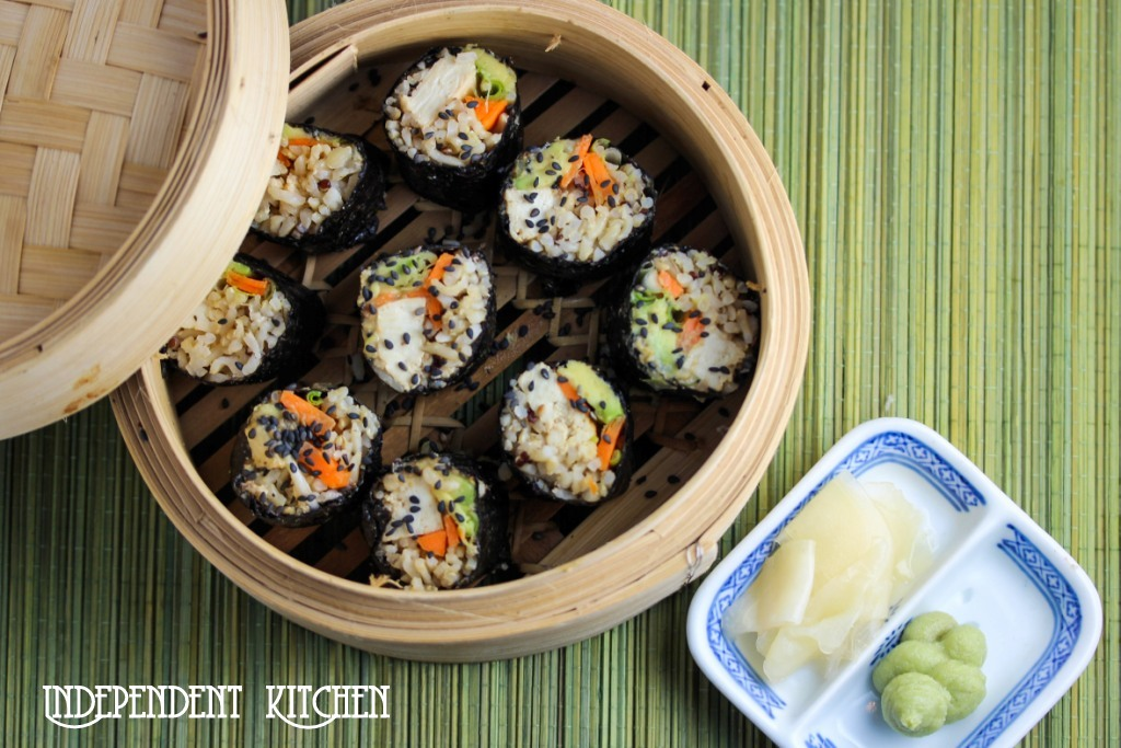Quinoa and brown rice sushi with miso tahini tofu