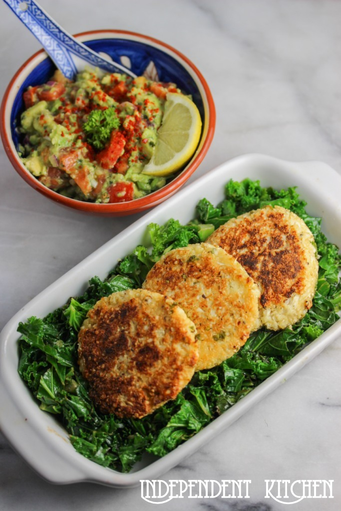 Cauliflower Feta Cakes with Guacamole
