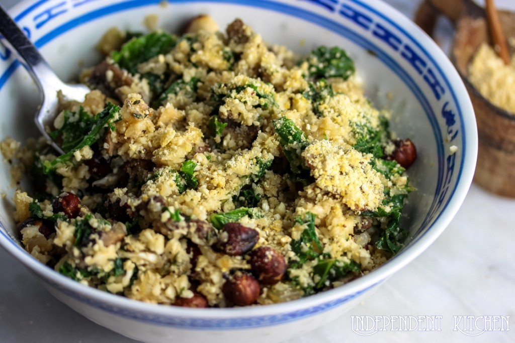 Mushroom, kale and nut risotto