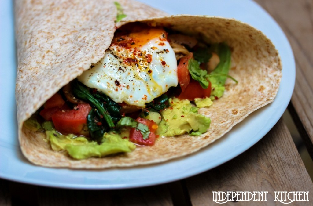 Mushroom Spinach and Avocado Wrap
