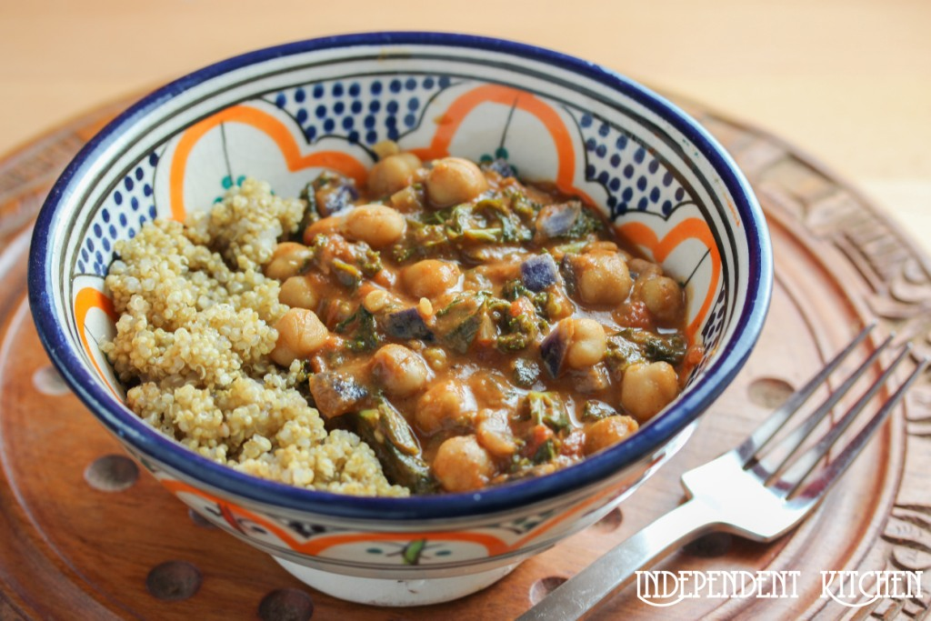 African peanut chickpea kale stew